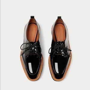Zara Flat Platform Derby Creeper Shoes